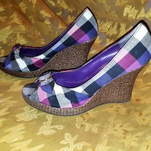 Shoes - Colorful purple pink plaid wedges platform Qupid